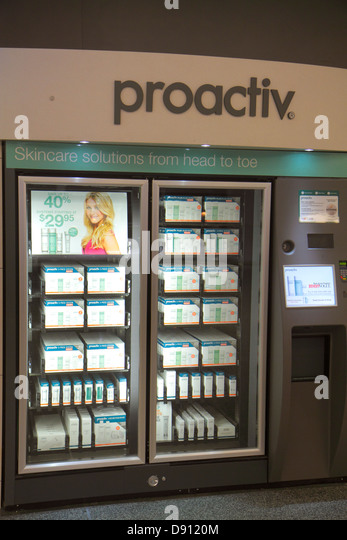 California San Francisco International Airport SFO gate area concourse terminal shopping for sale vending machine - Stock Image