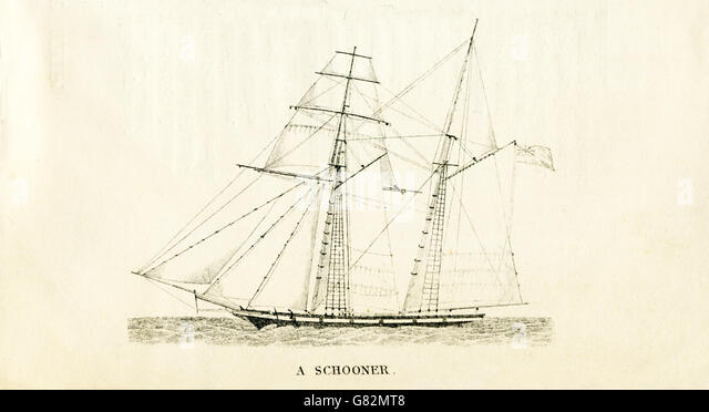 Pictured here is a schooner. The illustration dates to the 1800s. - Stock-Bilder