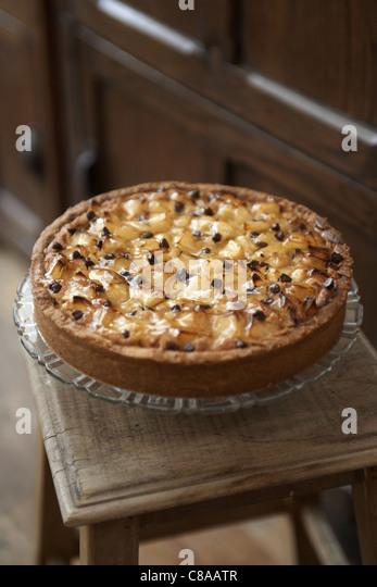 Pear and haezlnut tart - Stock Image
