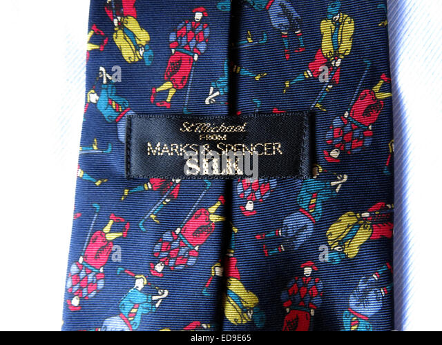 Interesting M&S golf tie, male neckware in silk - Stock Image