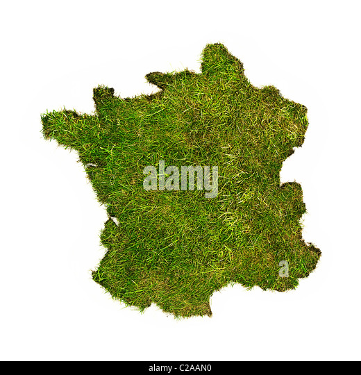 Green grass map of France - Stock Image