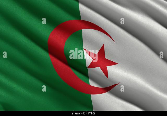 Flag of Algeria waving - Stock Image