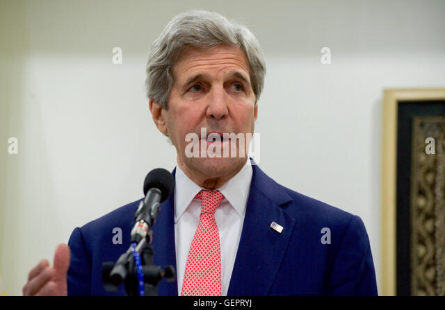 Secretary Kerry Addresses Reporters during News Conference following his Bilateral Meeting with Myanmar Foreign - Stock-Bilder
