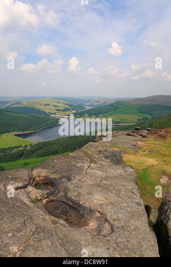 Bamford Edge and Ladybower Reservoir, Derbyshire, Peak District National Park, England, UK. - Stock Image