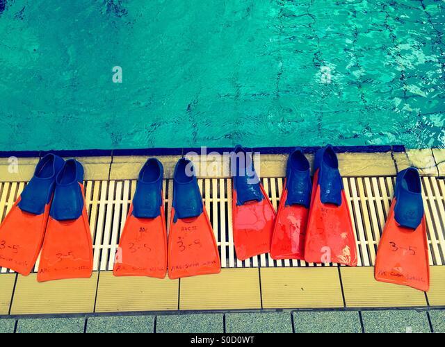 Swimming lesson - Stock-Bilder