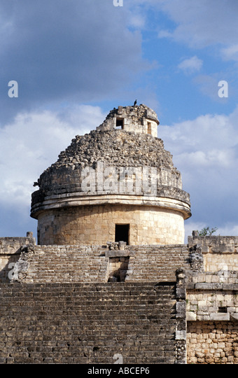 Mexico Yucatan Chichen Itza astronomy astronomical The Observatory - Stock Image