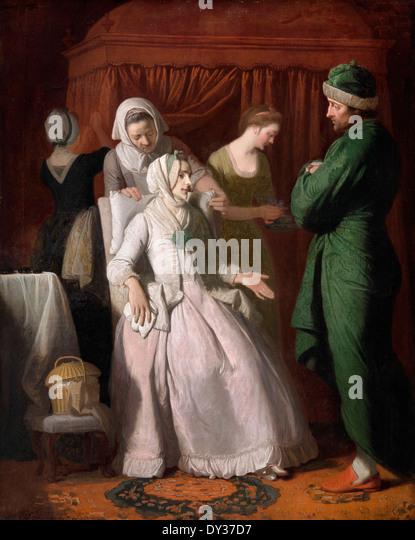 Edward Penny, The Virtuous Comforted by Sympathy 1774 Oil on canvas. Yale Center for British Art, New Haven, USA. - Stock Image