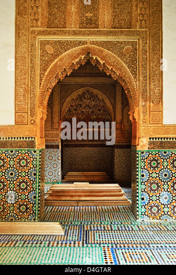Saadian Tombs, Medina, Marrakesh, Morocco, North Africa - Stock Image