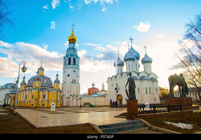 Sophia Cathedral and bell tower in the city of Vologda. Russia - Stock-Bilder