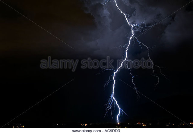 Big huge lightning bolt shot on a Nikon Digital Camera D2X - Stock Image