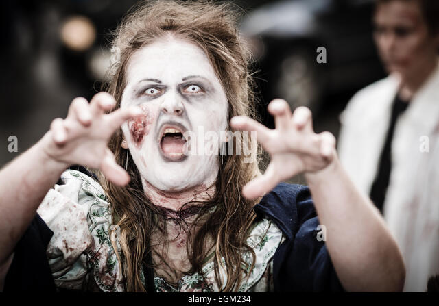 Scary zombie walk event in the center of the town of Hämeenlinna in Finland. - Stock Image