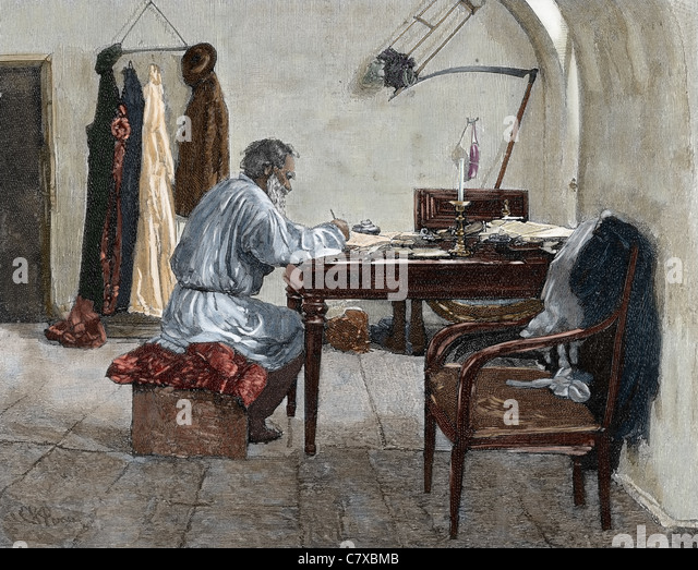 Leo Tolstoy (1828-1910). Russian writer. Totlstoy in his work room. - Stock Image
