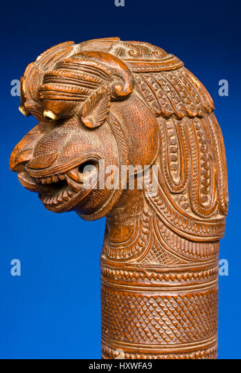 Carved walking stick stock photos
