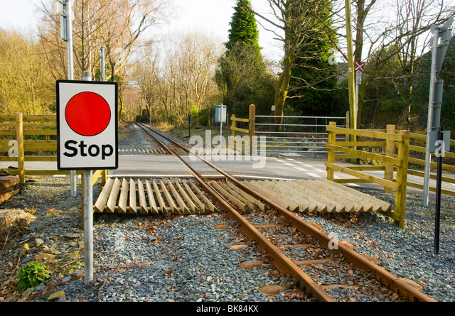 Stop sign at a level crossing, Welsh Highland Railway, Nantmor, Snowdonia, North Wales, UK - Stock Image
