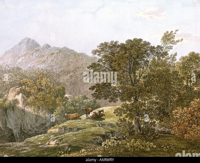 fine arts, Klotz, Simon (1776 - 1824), alpine feedlot, watercolour, circa 1840, 22,3x28 cm, private collection, - Stock Image
