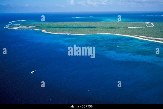 Aerial of coral reefs and beach on Providenciales (Provo) in the Turks and Caicos Islands, Caribbean - Stock Image