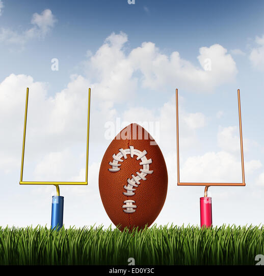 Winning strategy choice as two american football goal posts and a ball with a question mark made from stitching - Stock Image