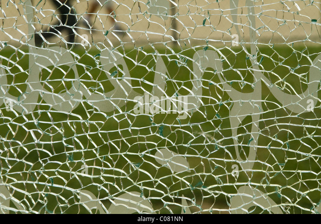 Close-up of a shattered glass - Stock Image