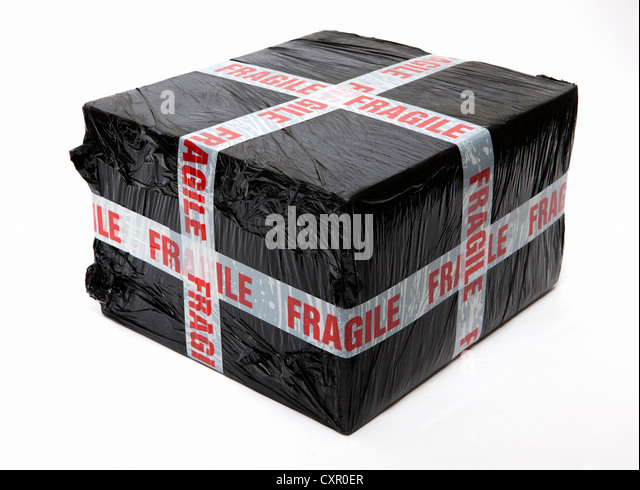 Fragile wrapped package - Stock Image