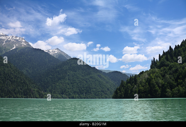 Caucasian mountains and lake Riza - Stock Image