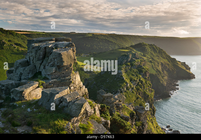 Towering cliffs at Valley of Rocks, Exmoor, Devon, England. Summer (July) 2012. - Stock Image