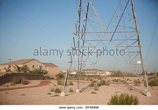 House Housing Electricity Pylon Stock Photos & House ...