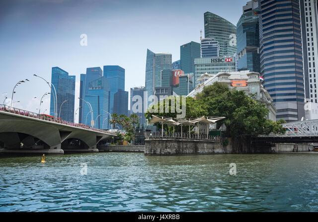 Singapore skyline with skyscrapers - Stock-Bilder