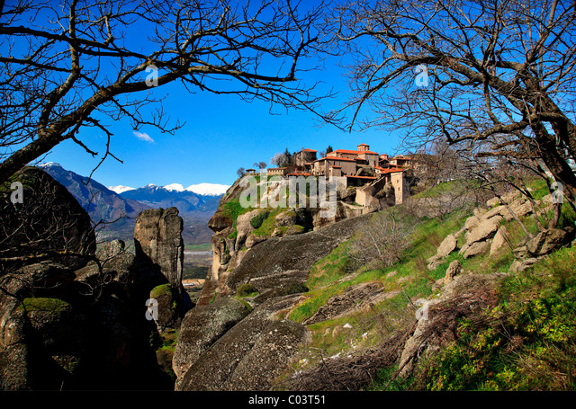 Greece, Meteora. On the upper right part the Great Meteoron monastery, - Stock-Bilder