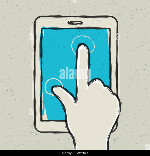 Abstract hand touching digital tablet - Stock-Bilder