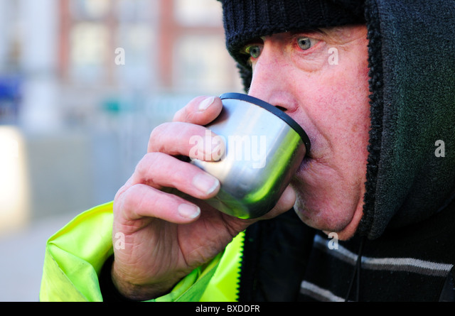 Council Worker (road sweeper).On Lunch Break - Stock-Bilder