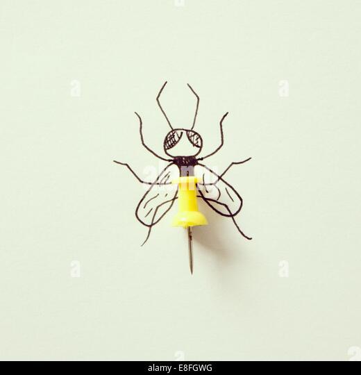 Illustration of bee, sting made of thumbtack - Stock-Bilder