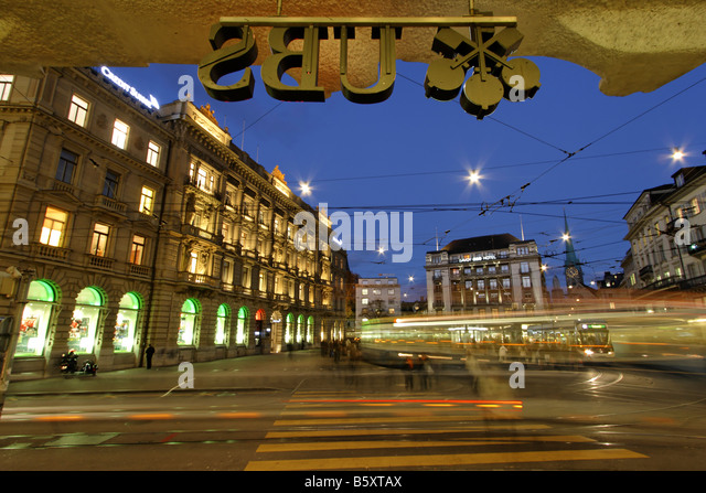 Bank UBS and Credit suisse at Paradeplatz Tram Zurich Switzerland - Stock Image