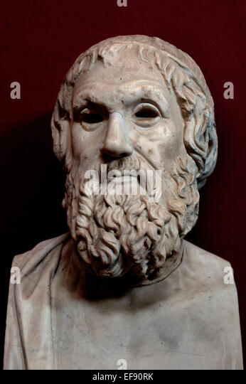Sophocles, Farnese type 406/405 BC (aged 90) Athens Tragedy Tragedian Greek  ( Vatican Museum Rome Italy ) - Stock Image