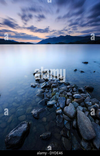 Sunset from the shores of Derwent Water near Ashness Jetty in the Lake District. - Stock Image
