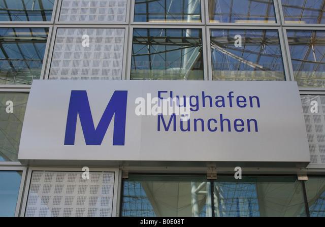 sign Flughafen Muenchen, airport Munich, Bavaria. Germany, Europe. Photo by Willy Matheisl - Stock-Bilder