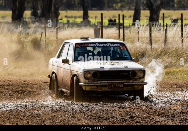 Avoca, Australia. 27th Aug, 2017. MELBOURNE, AUSTRALIA – AUGUST 27: David Lawrance and Darren Davison in a Datsun - Stock Image