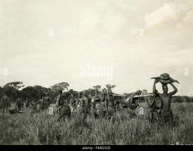 Manghetu Africans carry the meat of animals killed by Pygmies - Stock-Bilder