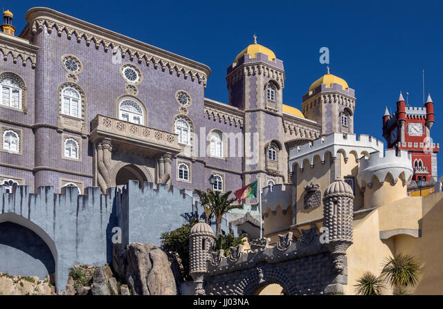 Pena National Palace at Sintra near Lisbon in Portugal.  A UNESCO World Heritage Site. - Stock Image
