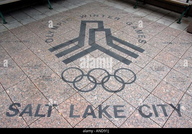 Olympic mural on a pavement, Salt Lake City, USA - Stock Image
