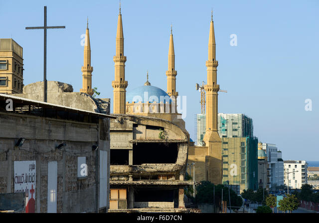 LEBANON, Beirut, Mohammed-al-Amin-Mosque,  a sunni mosque build 2008 at place of martyrs, which was during civil - Stock-Bilder
