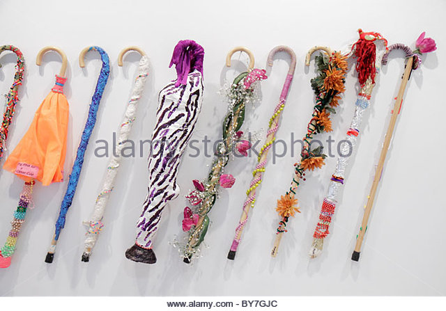Philadelphia Pennsylvania Philadelphia Museum of Art education department walking stick cane artwork made by legally - Stock Image