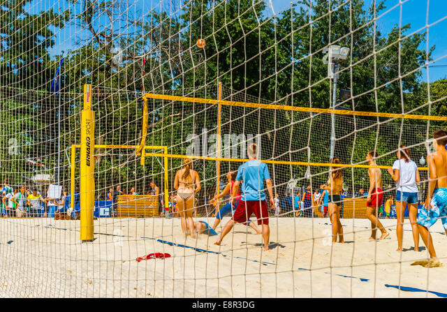 Moscow, Russia. 12th July 2014: Beach volleyball games in Moscow Gorky park - Stock Image