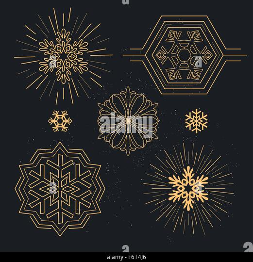 Snowflake Patterns. Geometric lined snowflakes. Vector illustration. - Stock Image