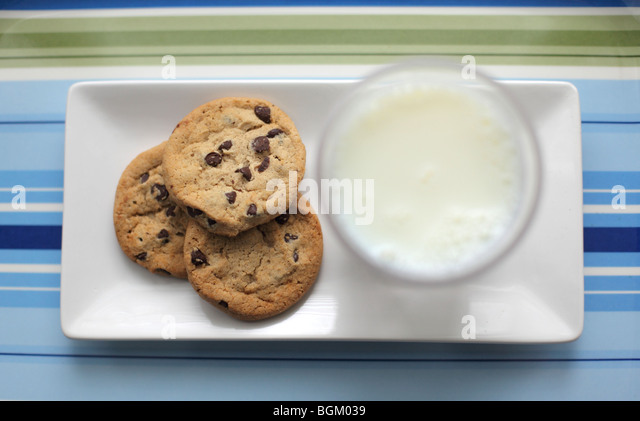 Milk and cookies - Stock Image