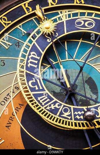 Close-up of the astronomical clock or Prague Orloj (Pražský orloj) in the Old Town Square in Prague, Czech - Stock Image