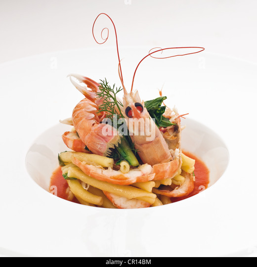 Close up of prawns and vegetables - Stock Image