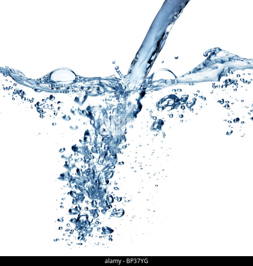 Flowing water with air bubbles on a white background. - Stock Image