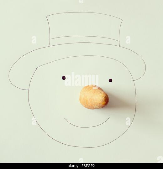 Illustration of snowman with carrot nose - Stock Image