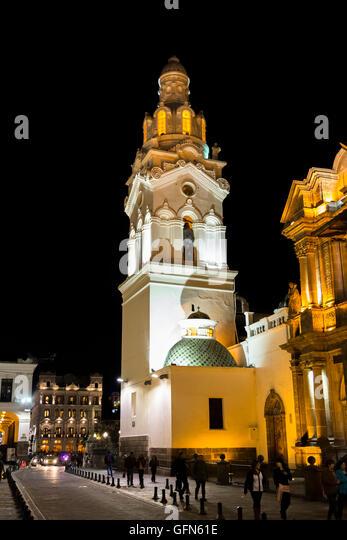 La Catedral, Plaza Grande, floodlit and illuminated at night, Quito, capital city of Ecuador, South America - Stock Image