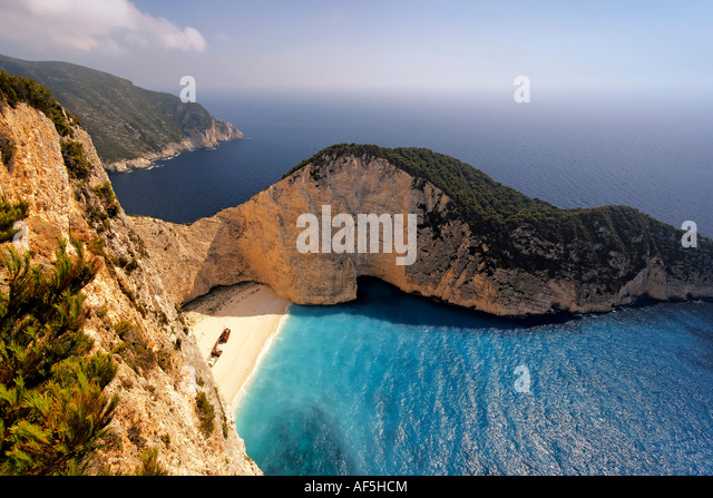 Greece Zakynthos Island shipwreck bay - Stock Image
